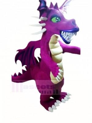 Féroce Violet Dragon Mascotte Costume Dessin animé
