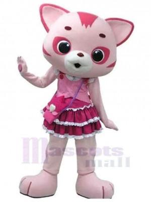 Chat rose et blanc Costume de mascotte Animal avec jolie robe