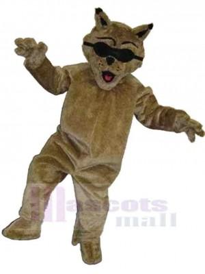 Chat brun frais Costume de mascotte Animal avec des lunettes de soleil noires