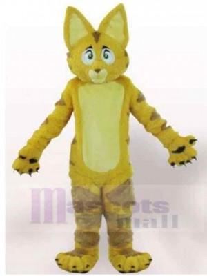 Chat à fourrure jaune aux grandes oreilles Costume de mascotte Animal