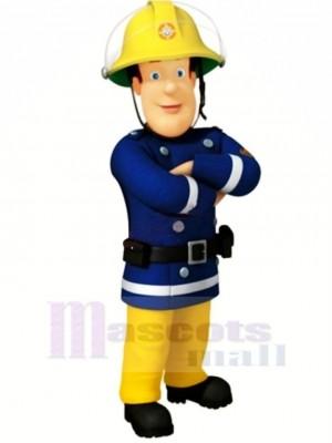 Bleu Eyed Pompier Mascotte Costume Dessin animé Gens