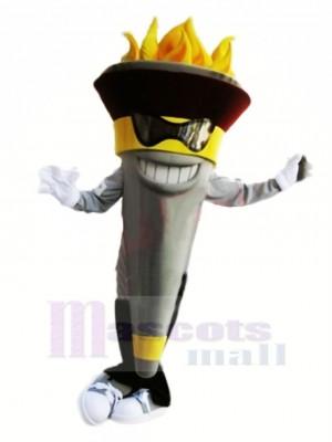 Drôle Torche Mascotte Avec Des lunettes Costume Dessin animé