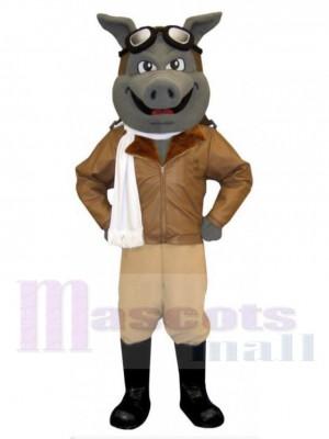 Aviateur Cochon costume de mascotte