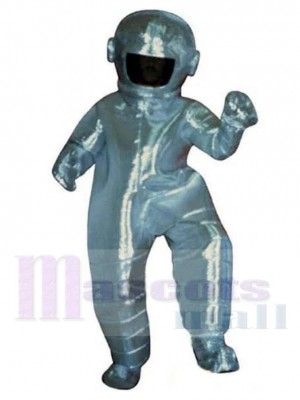 Astronaute Costume de mascotte en combinaison spatiale argentée Gens