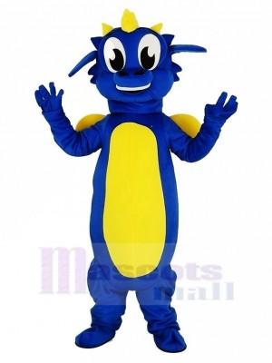 Bleu Dragon Mascotte Costume Dessin animé