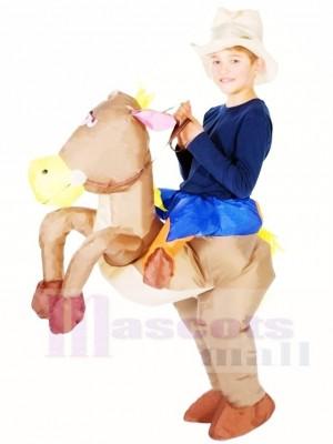 Cow-boy Balade sur marron Cheval Gonflable Halloween Noël Les costumes pour Des gamins