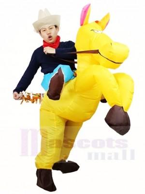 Cow-boy Balade Sur Jaune Cheval Gonflable Halloween Noël Les costumes pour Adultes