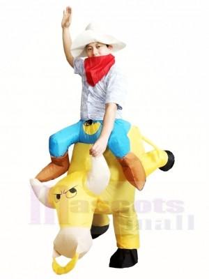 Cow-boy Balade sur Jaune Taureau Gonflable Halloween Noël Les costumes pour Adultes