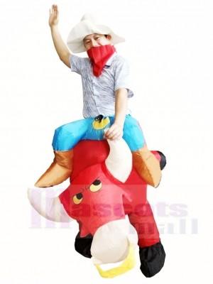 Cow-boy Balade sur rouge Taureau Gonflable Halloween Noël Les costumes pour Adulte