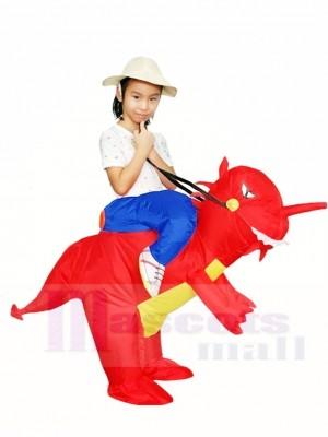 Balade Sur rouge Dinosaure avec klaxon T-rex Gonflable Halloween Noël Les costumes pour Des gamins