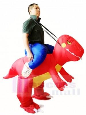 rouge Dinosaure Porter moi Balade Sur T-rex Gonflable Halloween Noël Les costumes pour Adultes