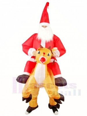 Renne Porter Père Noël Claus Père Noël Gonflable Halloween Noël Les costumes pour Adultes