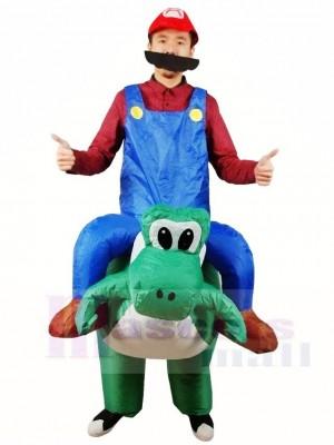 Super Mario Frère Balade sur T-Rex Gonflable Halloween Noël Les costumes pour Adultes