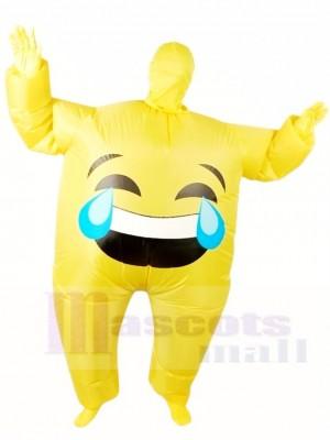 Emoji Pleurer Gonflable Halloween Noël Coup en haut Les costumes pour Adultes