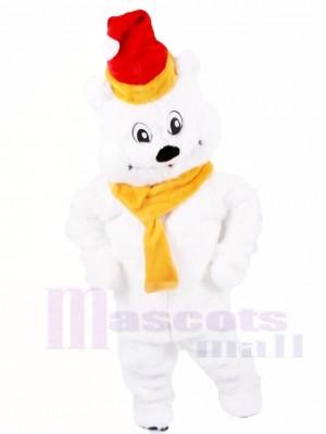 rouge Chapeau Polaire Ours avec Jaune Écharpe Mascotte Les costumes Animal Noël