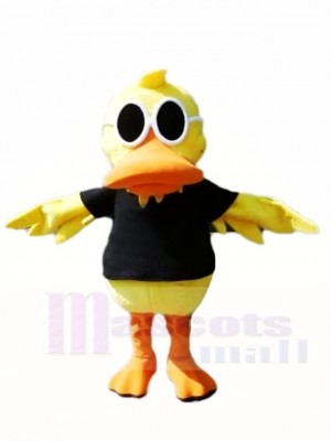 Jaune canard avec Des lunettes de soleil Mascotte Les costumes la volaille Animal