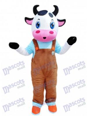 Blue Eyes Cow avec dessin de costume de mascotte de salopettes marron