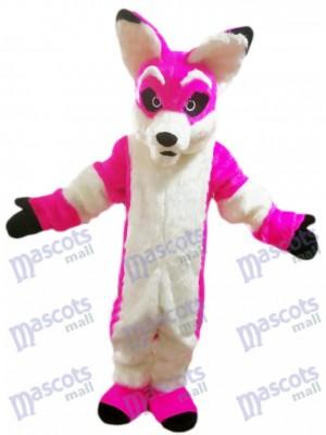 Dessin animé de costume de mascotte de Fox chien Husky rose