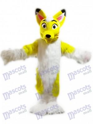 Dessin animé de costume de mascotte Fox jaune chien husky