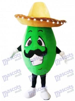 Costume de mascotte avocat mexicain avec un chapeau Big