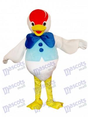 Costume de mascotte de canard arc bleu