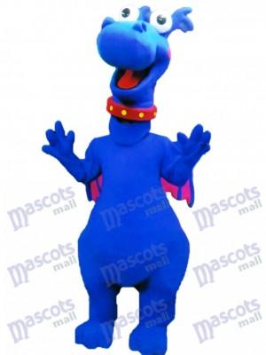 Costume de mascotte moelleuse Dragon bleu mignon Animal
