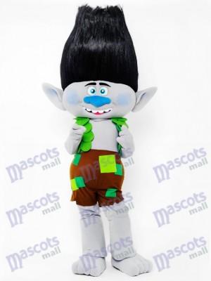 Trolls garçon branche mascotte Costume branche de cheveux noirs Cartoon