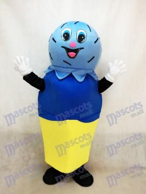 Double Scoop bleu sur une crème de costume de mascotte Cone Cone