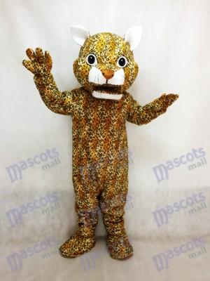 Costume de mascotte léopard bondissant avec un nez brun