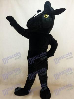 Costume de mascotte de cheval Mustang noir Animal