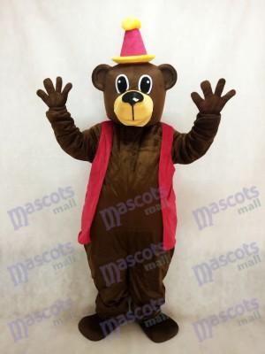 Ours brun d'anniversaire avec le costume de mascotte de gilet et de chapeau