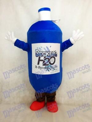 Costume de mascotte de bouteille d'eau bleu foncé avec les chaussures rouges