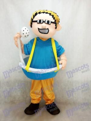 Homme de baignoire bleue plus le costume de mascotte de pomme de douche