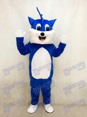 Costume de mascotte adulte chat bleu avec animal ventre blanc