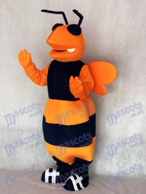 Costume de mascotte d'abeille à frelon adulte orange et bleu marine