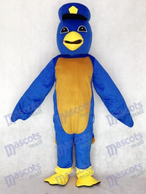 Costume mascotte mignonne oiseau bleu adulte avec Capitaine Capitaine Duckling Animal