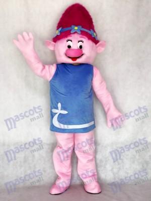 Costume de mascotte de pavot rose de fille de trolls Costume de mascotte de fille de dessin animé