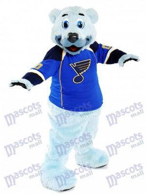 Louie Ours polaire à fourrure bleue du costume de mascotte des blues de Saint-Louis Animal