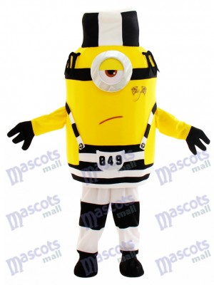 Malhonnête méchant en prison moche méprisable Costume de mascotte avec chapeau dessin animé
