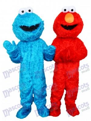 Rue de Sesame Bleu Biscuit Monstre et rouge Elmo Mascotte Costume Dessin animé Anime