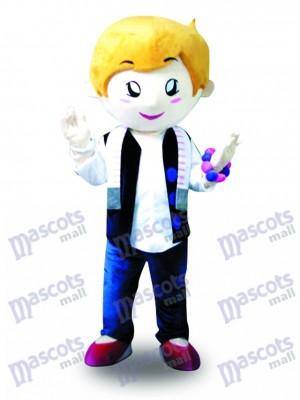 Gilet de cheveux jaunes Boy Mascotte Costume Cartoon