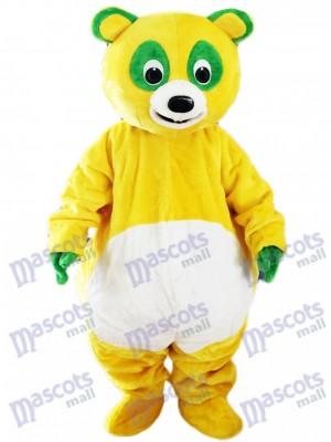 Ours jaune avec des yeux verts Costume de mascotte animal de dessin animé