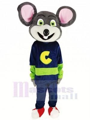Chuck E. Cheese Mascotte Costume Souris avec vert Yeux