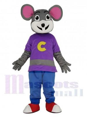 Chuck E. Cheese Mascotte Costume Souris avec Violet Manteau