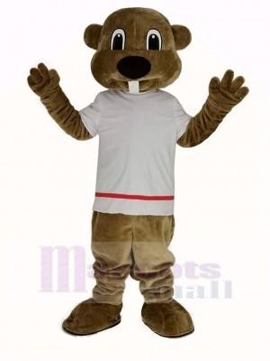 Alex la Castor dans blanc T-shirt Mascotte Costume Animal
