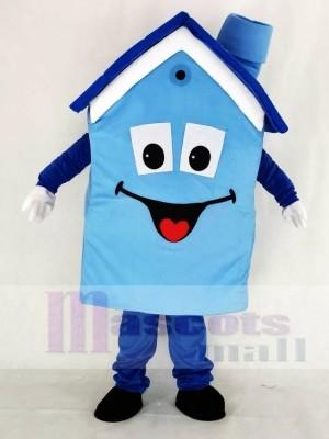 Réaliste Bleu Maison Mascotte Costume École