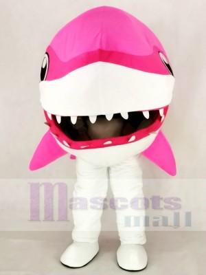 Mignonne Rose Baleine Requin Mascotte Costume Dessin animé