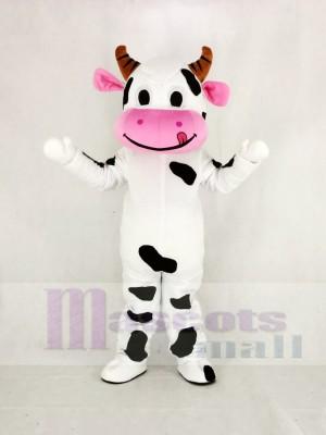 Mignonne Vache avec Rose Bouche Mascotte Costume Dessin animé