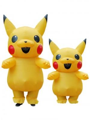Jaune Pikachu Gonflable Costume Air Coup en haut Cosplay Combinaison pour Adulte/enfant