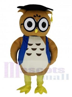 marron Docteur Chouette dans Bleu Gilet Mascotte Costume Animal